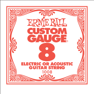 Ernie Ball Guitar Strings: Custom Gauge Six Pack-.008 1008