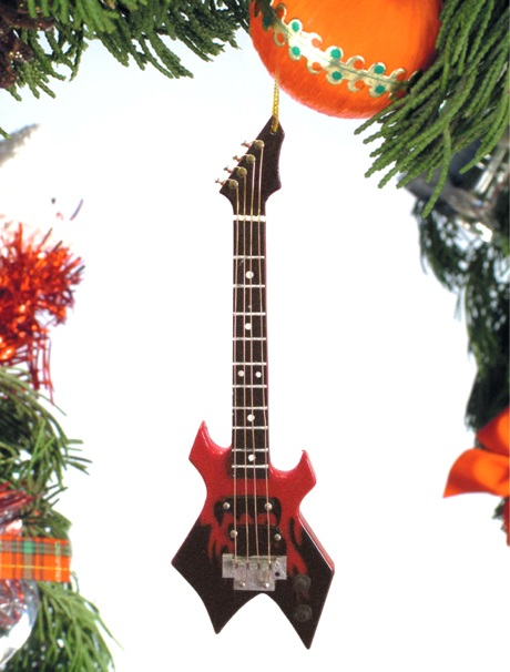 Black and Red Electric Bass Guitar Ornament