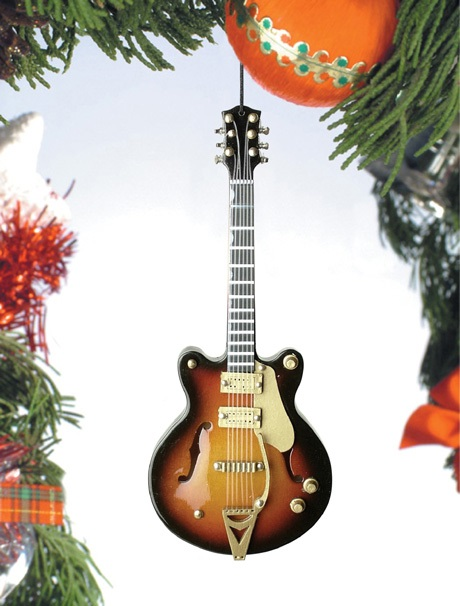 Brown Hollow Body Electric Guitar Ornament
