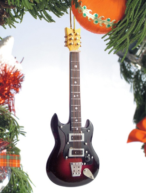 Black and Red Electric Guitar II Ornament