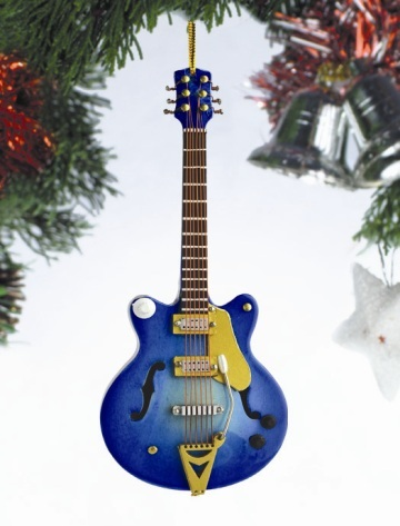 Blue Hollow Body Electric Guitar Ornament