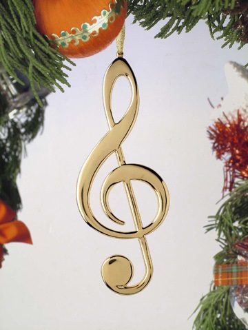 Gold Treble Clef Ornament