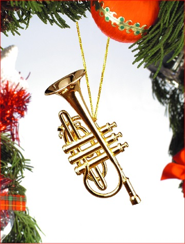 Gold Brass Cornet Ornament