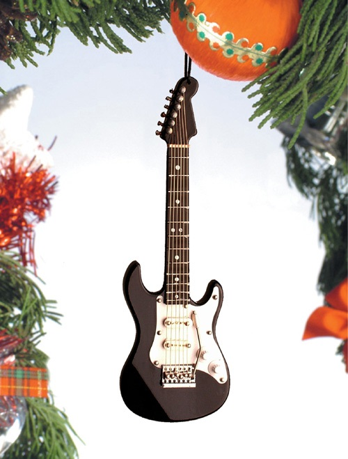 Black and White Electric Guitar  Ornament