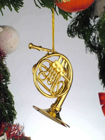 Gold Brass French Horn Ornament