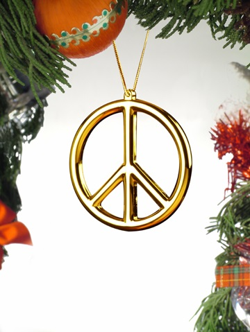 Gold Peace Sign Ornament